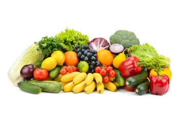 Different multi-colored healthy fruits and vegetables isolated o